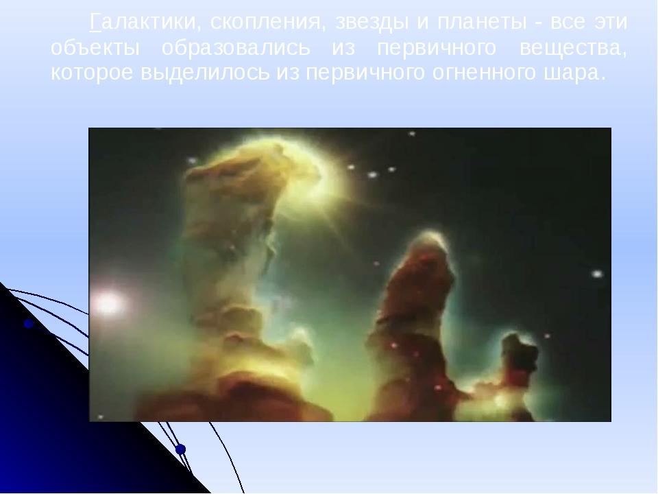 Галактики, скопления, звезды и планеты - все эти объекты образовались из пе...