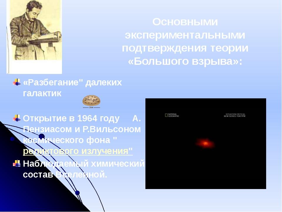 Основными экспериментальными подтверждения теории «Большого взрыва»: «Разб...