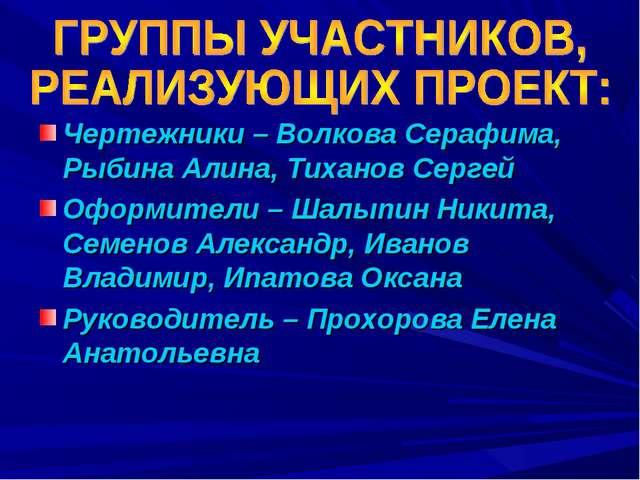 Чертежники – Волкова Серафима, Рыбина Алина, Тиханов Сергей Оформители – Шалы...