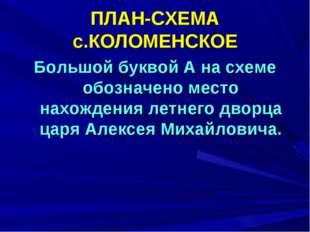 ПЛАН-СХЕМА с.КОЛОМЕНСКОЕ Большой буквой А на схеме обозначено место нахождени