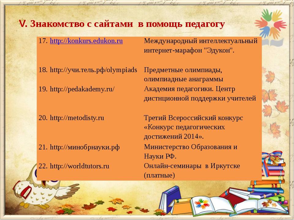 V. Знакомство с сайтами в помощь педагогу 17.http://konkurs.edukon.ru Междуна...