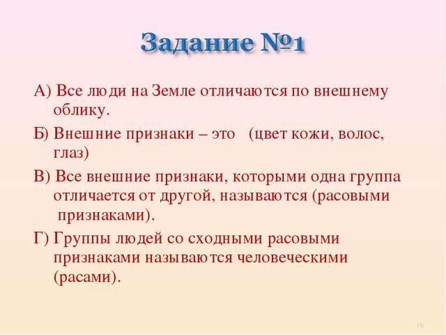 А) Все люди на Земле отличаются по внешнему облику. Б) Внешние признаки – это...