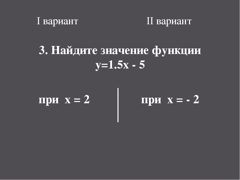 I вариант II вариант 3. Найдите значение функции y=1.5x - 5 при x = 2 при x =...