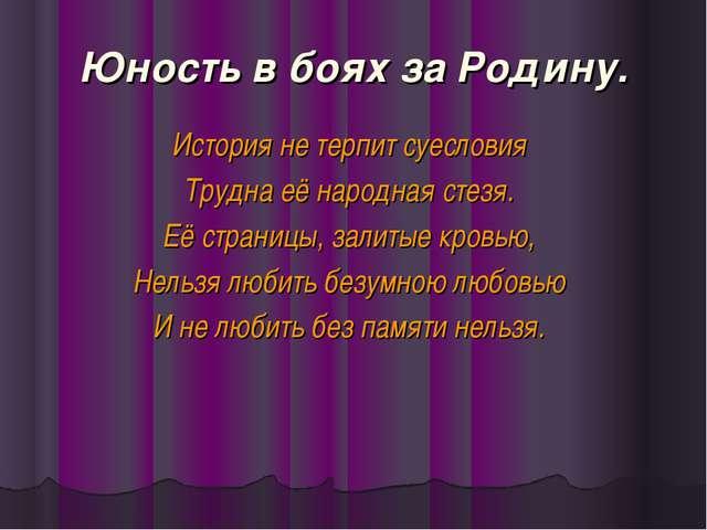 Юность в боях за Родину. История не терпит суесловия Трудна её народная стезя...
