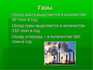 Газы. Оксид азота выделяется в количестве 90 тонн в год. Оксид серы выделяетс