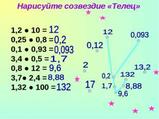 1,2 ● 10 = 0,25 ● 0,8 = 0,1 ● 0,93 = 3,4 ● 0,5 = 0,8 ● 12 = 3,7● 2,4 = 1,32 ●