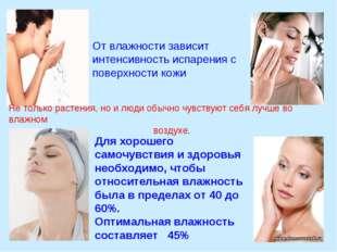 От влажности зависит интенсивность испарения с поверхности кожи Для хорошего