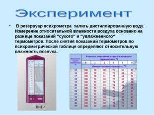 В резервуар психрометра залить дистиллированную воду. Измерение относительно