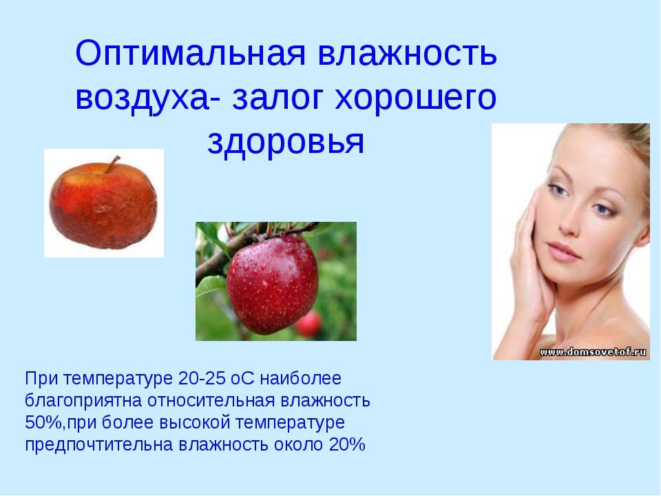 Оптимальная влажность воздуха- залог хорошего здоровья При температуре 20-25...