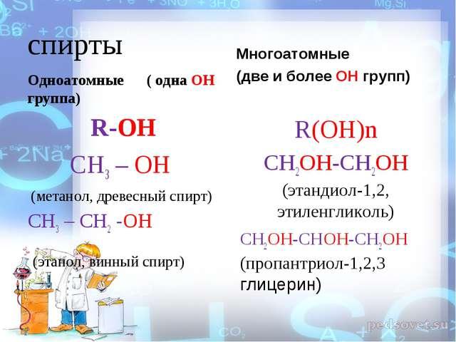 спирты Одноатомные   ( одна ОН группа) R-OH СН3– ОН (метанол, древесный с...