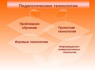 Проблемное обучение Проектная технология Информационно- коммуникативные техно