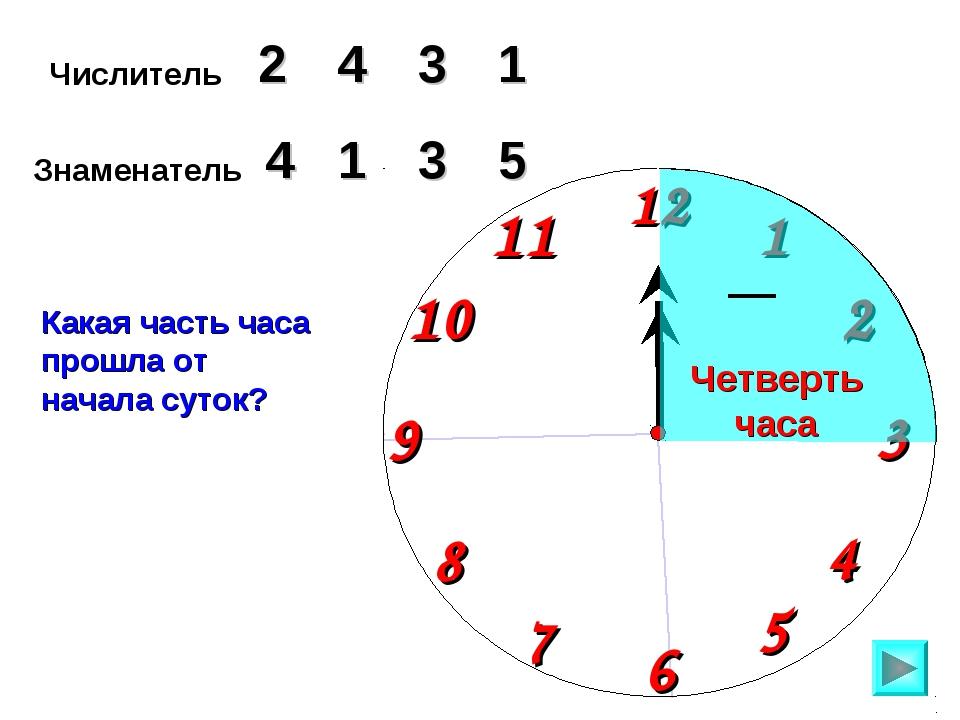 Числитель 2 3 4 Знаменатель 5 1 3 Какая часть часа прошла от начала суток? 1...