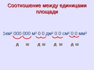 Соотношение между единицами площади 1км² 000 000 м² 0 0 дм² 0 0 см² 0 0 мм² д