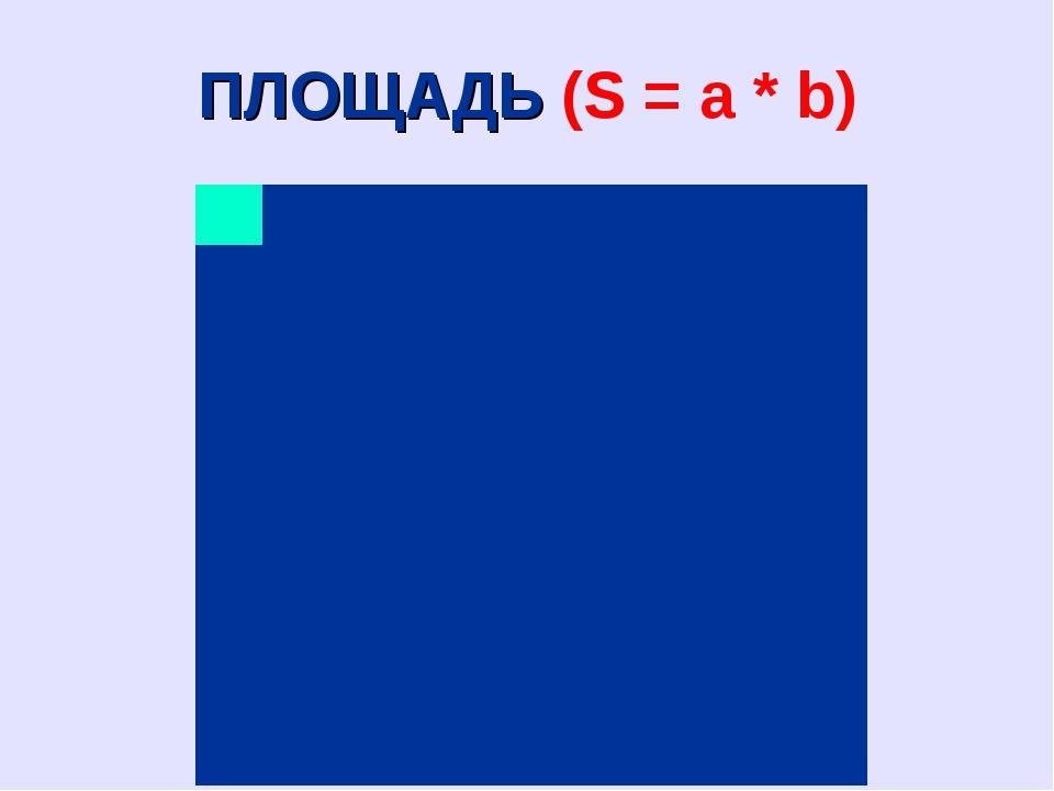 ПЛОЩАДЬ (S = a * b)