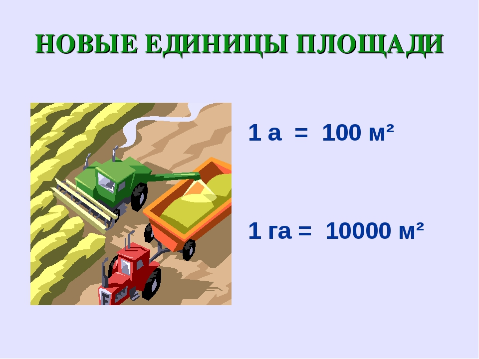 НОВЫЕ ЕДИНИЦЫ ПЛОЩАДИ 1 а = 100 м² 1 га = 10000 м²