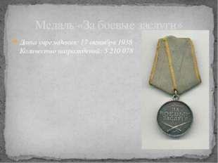Дата учреждения: 17октября 1938 Количество награждений: 5210078 Медаль «За