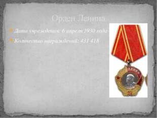 Дата учреждения: 6апреля 1930 года Количество награждений: 431418  Орде
