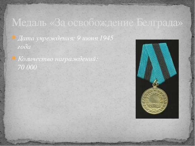 Дата учреждения: 9июня 1945 года Количество награждений: 70000 Медаль «За о...