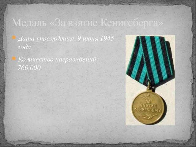 Дата учреждения: 9июня 1945 года Количество награждений: 760000 Медаль «За...