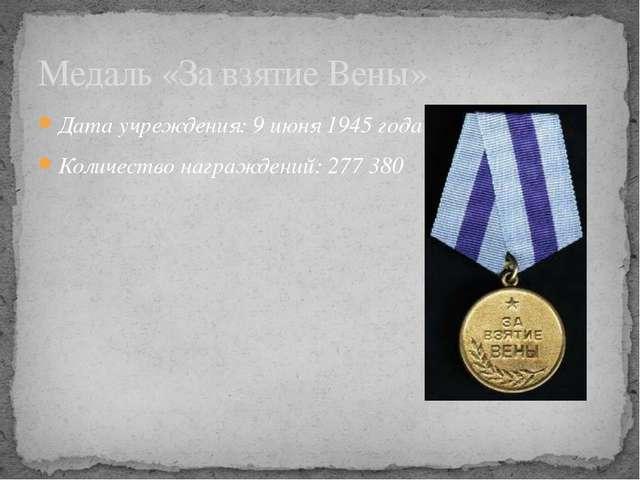 Дата учреждения: 9июня 1945 года Количество награждений: 277380 Медаль «За...
