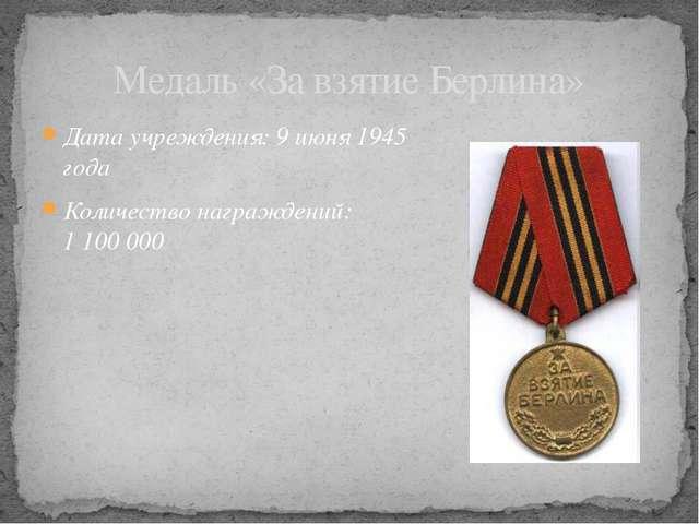 Дата учреждения: 9июня 1945 года Количество награждений: 1100000 Медаль «З...
