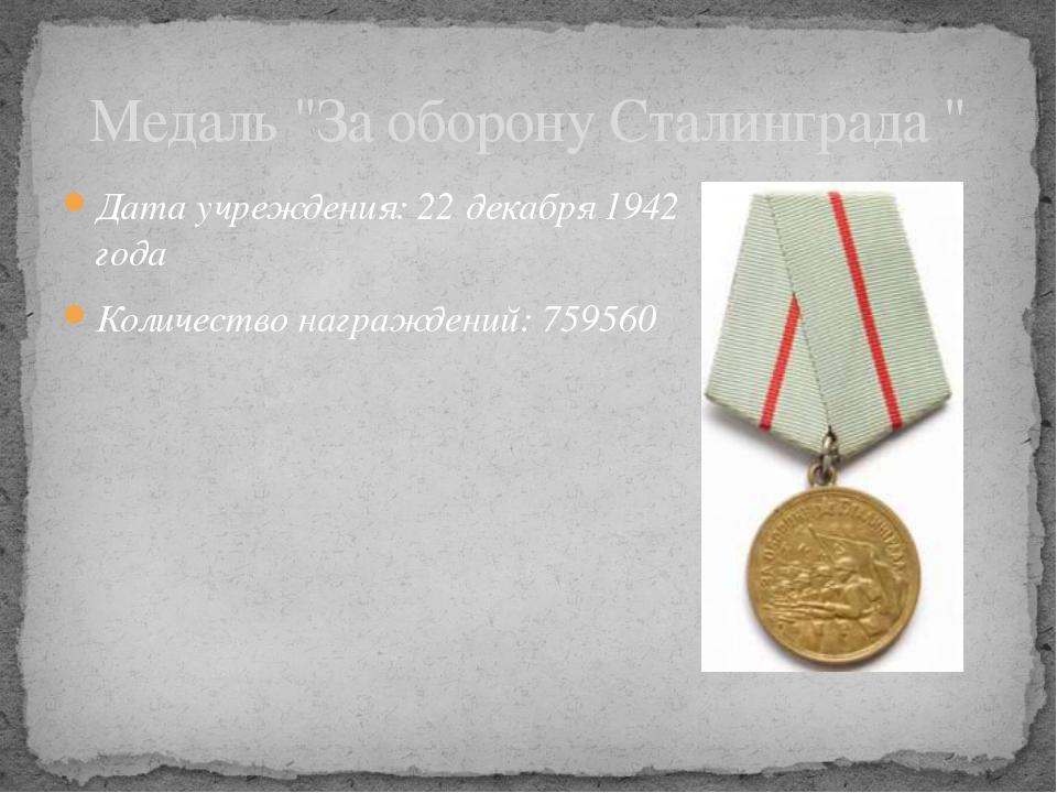 """Дата учреждения: 22декабря 1942 года Количество награждений: 759560 Медаль """"..."""