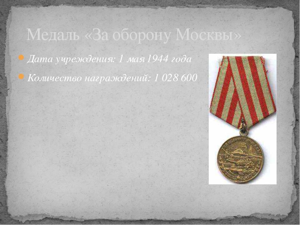 Дата учреждения: 1мая1944 года Количество награждений: 1028600  Медаль «...