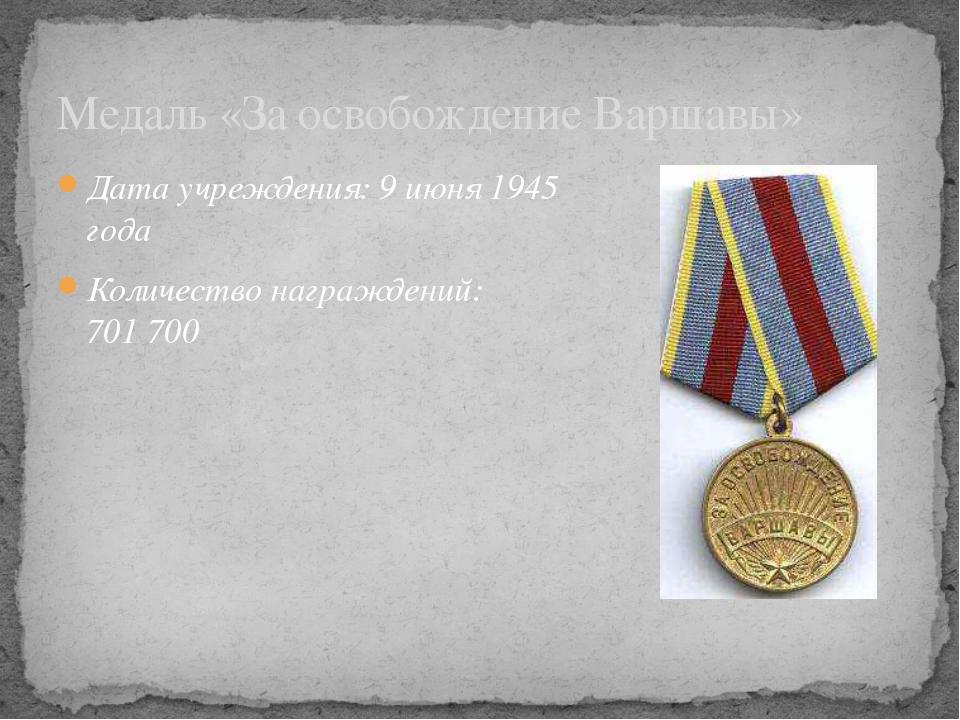 Дата учреждения: 9июня 1945 года Количество награждений: 701700 Медаль «За...