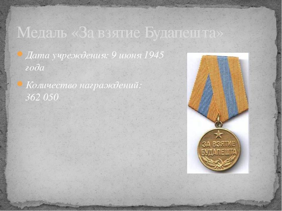 Дата учреждения: 9июня 1945 года Количество награждений: 362050 Медаль «За...