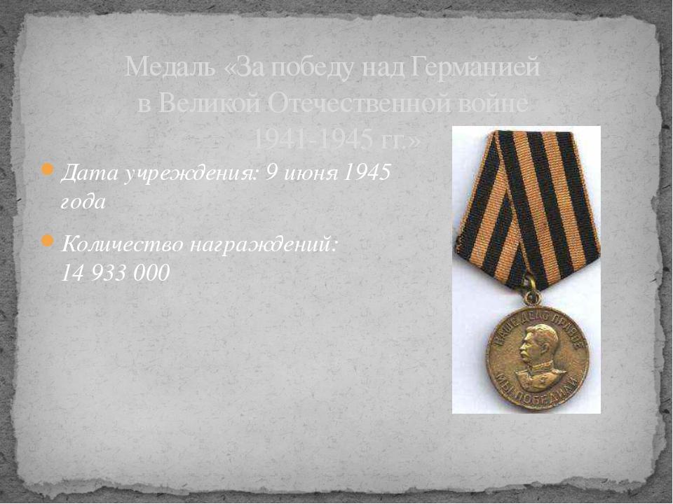 Дата учреждения: 9июня 1945 года Количество награждений: 14933000 Медаль «...