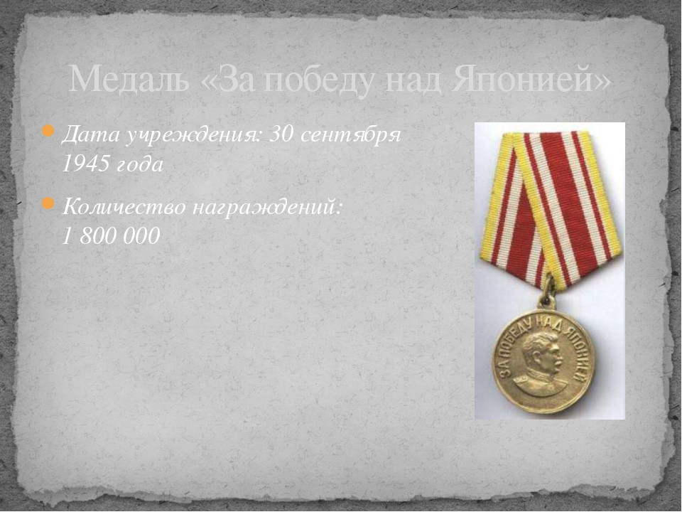 Дата учреждения: 30сентября 1945 года Количество награждений: 1800000 Меда...
