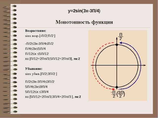 y=2sin(3x-3П/4) Монотонность функции Возрастание: sinx возр.[-П/2;П/2 ] -П/2...
