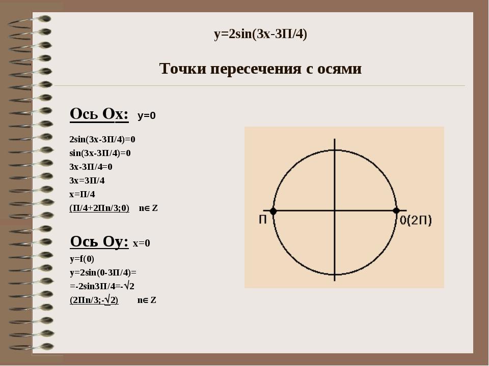 y=2sin(3x-3П/4) Точки пересечения с осями Ось Оx: y=0 2sin(3x-3П/4)=0 sin(3x-...