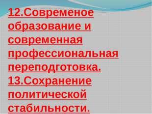 12.Современое образование и современная профессиональная переподготовка. 13.С