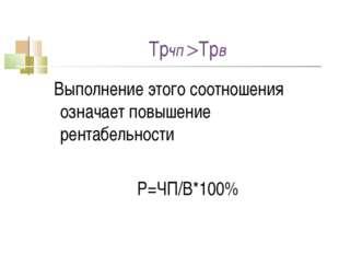 Трчп Трв Выполнение этого соотношения означает повышение рентабельности Р=ЧП