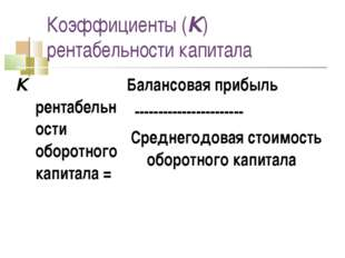 Коэффициенты (К) рентабельности капитала