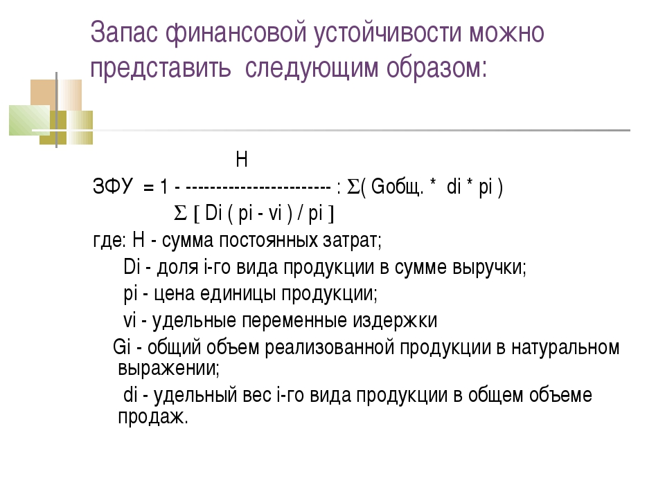 Запас финансовой устойчивости можно представить следующим образом: Н ЗФУ = 1...