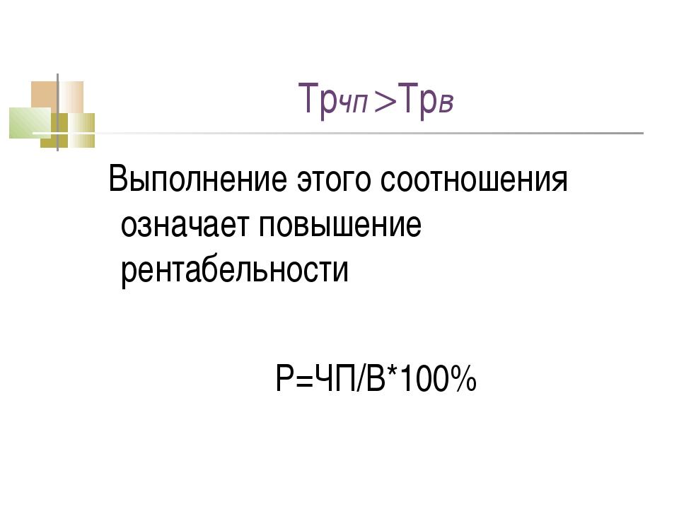 Трчп Трв Выполнение этого соотношения означает повышение рентабельности Р=ЧП...