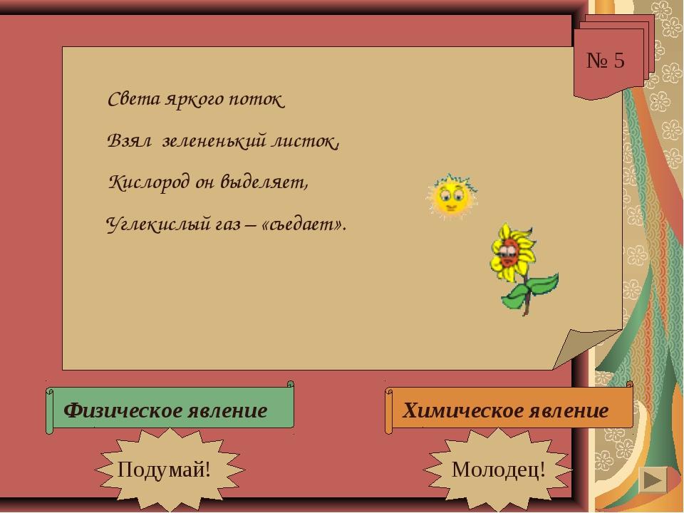 № 5 Света яркого поток Взял зелененький листок, Кислород он выделяет, Углекис...