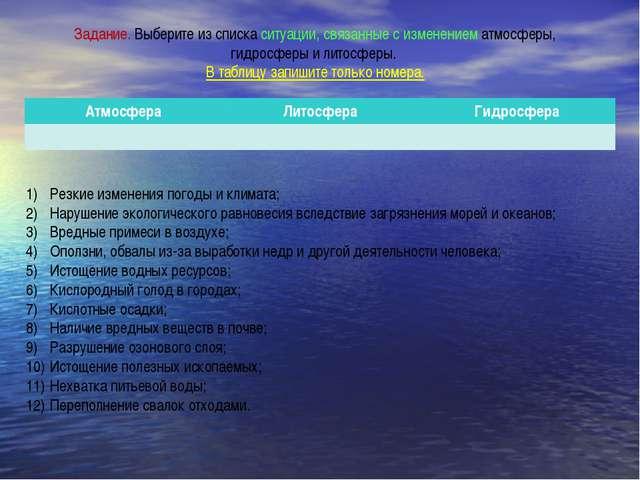 Задание. Выберите из списка ситуации, связанные с изменением атмосферы, гидро...