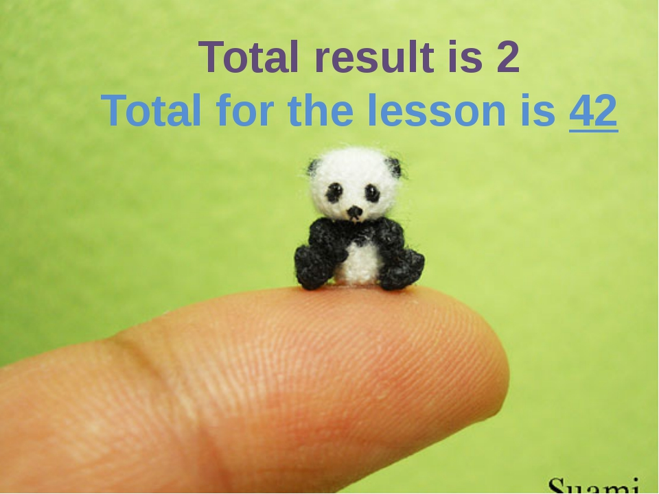 Total result is 2 Total for the lesson is 42