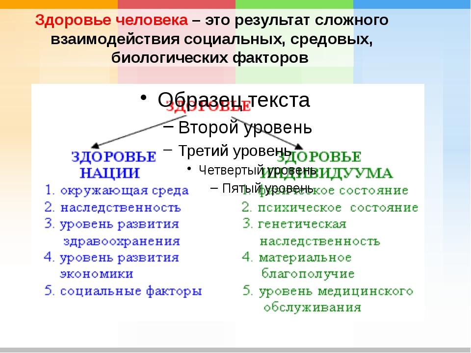 Здоровье человека – это результат сложного взаимодействия социальных, средовы...