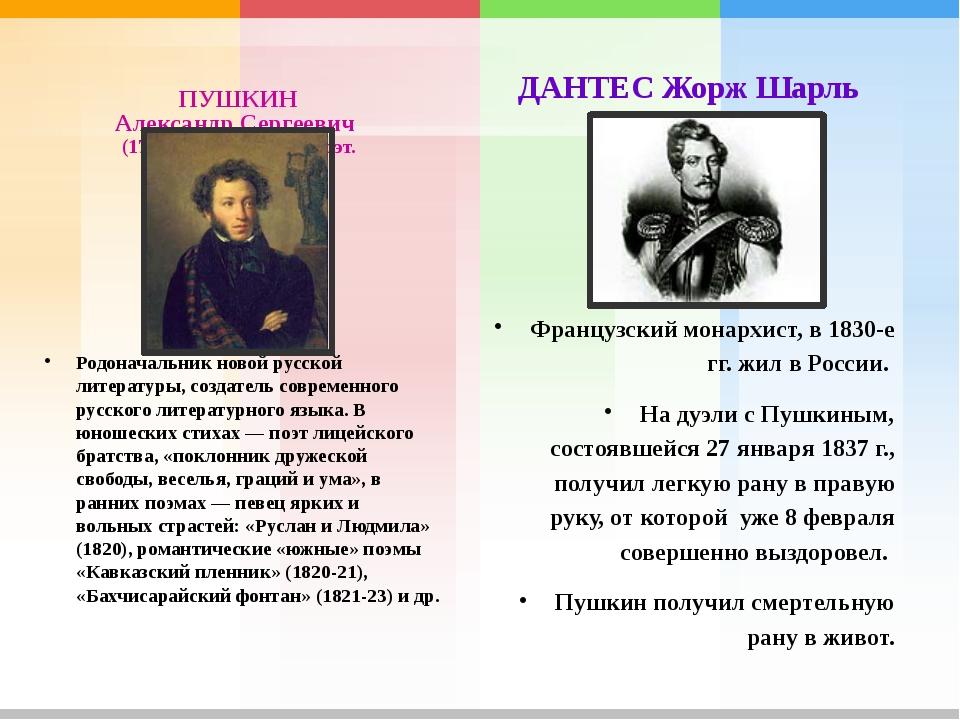 ПУШКИН Александр Сергеевич (1799-1837), русский поэт. Родоначальник новой рус...