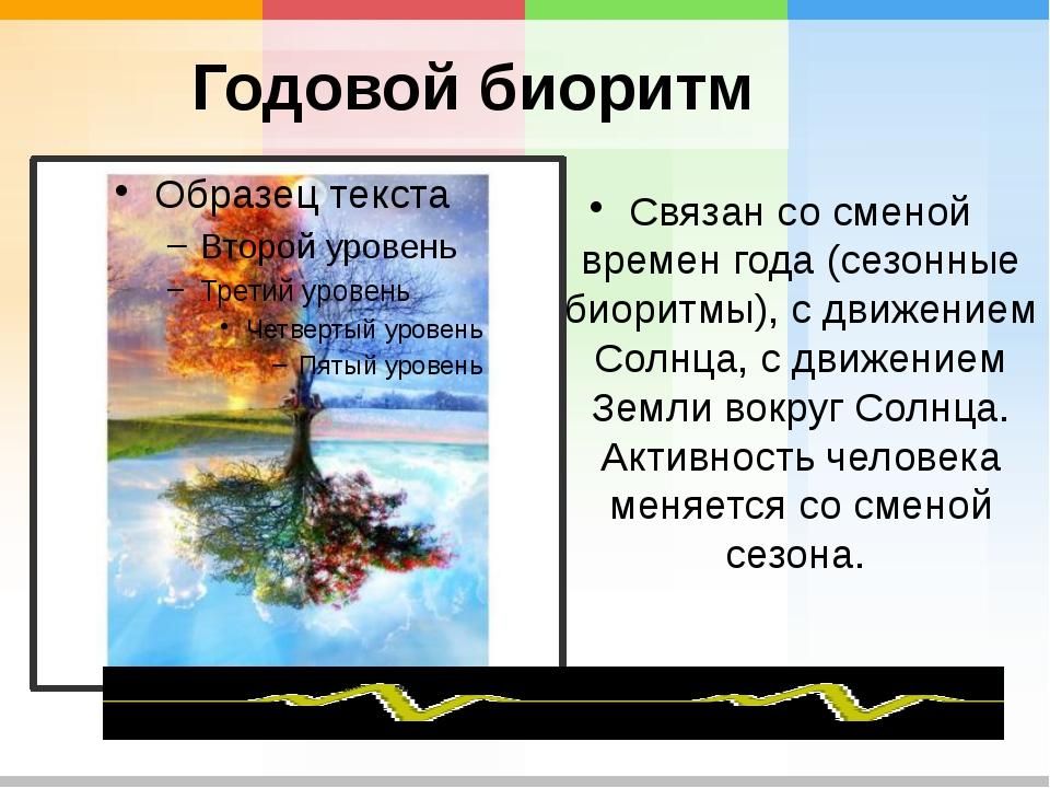 Годовой биоритм Связан сосменой времен года (сезонные биоритмы), сдвижением...