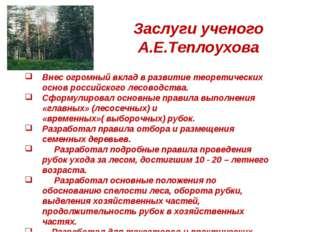 Заслуги ученого А.Е.Теплоухова Внес огромный вклад в развитие теоретических о