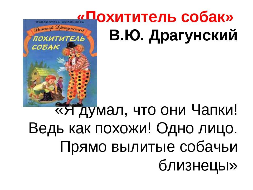 «Похититель собак» В.Ю. Драгунский «Я думал, что они Чапки! Ведь как похожи!...
