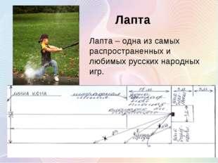 Лапта Лапта – одна из самых распространенных и любимых русских народных игр.