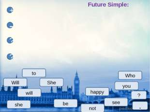 happy She see will you + - ? ? be not Who to ? Future Simple: . she Will