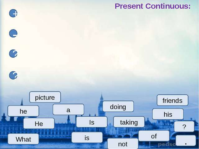taking a of He his + - ? ? is not friends picture ? Present Continuous: . doi...