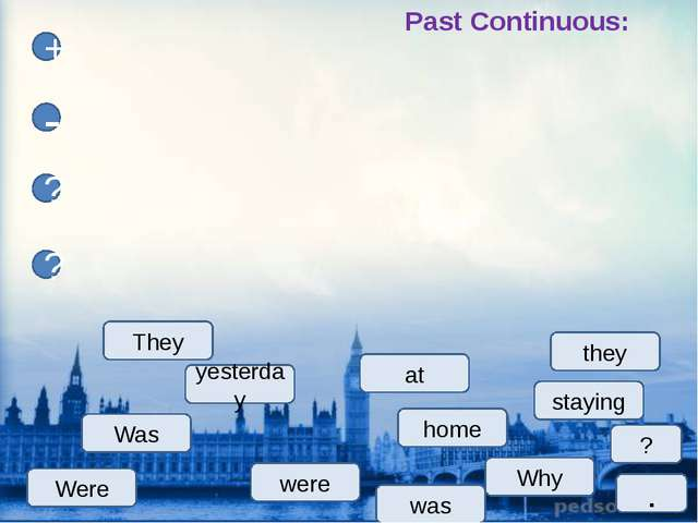home yesterday Why Was staying + - ? ? were was they They ? Past Continuous:...